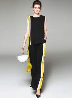 Случайные Сплайсинга о-образным вырезом без рукавов Майка и модный Цвет блокирование широкие брюки