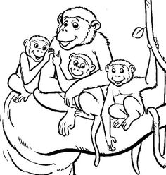 Monkey Coloring Pages for Kids. Free monkey coloring pages for kids. These printable coloring sheet surely will make your children happy. Monkey Coloring Pages, Family Coloring Pages, Online Coloring Pages, Animal Coloring Pages, Coloring Pages To Print, Coloring For Kids, Printable Coloring Pages, Coloring Pages For Kids, Coloring Book