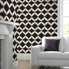 Mika Black Wallpaper - Black Geometric Wall Coverings by Graham & Brown | Graham & Brown