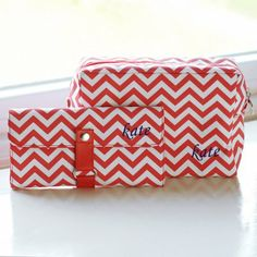 Personalized Chevron Spa Bag and Makeup Roll Set