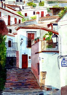 https://flic.kr/p/FbKrvL | Albaicin, Carril Lona | Carril de la Lona, Granada, Spain, watercolour