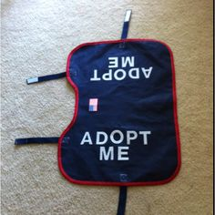 Fashion some adopt me vests for the dogs at your local shelter!  I made these for my sister who fosters German shepherds.