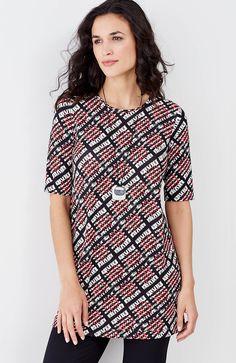 plus size Wearever elbow-sleeve printed tunic | J.Jill