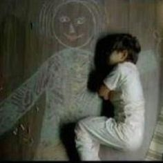 An orphan boy who drew a chalk picture of a mom for himself and slept by it
