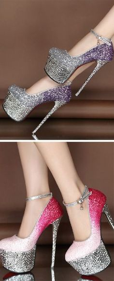 Good-looking Contrast Color Glitter Platform Heels dc8f693f377