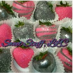 Pink and silver strawberries