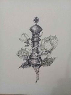 King chess piece #tattoo #king #rose