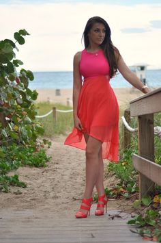 Coral/Pink High/Low Color blocking Dress Hot Miami Styles @hotmiamistylesblog