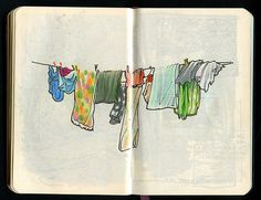 pen & ink travel sketching | this is simple and awesome! I love clothes hanging on a line!