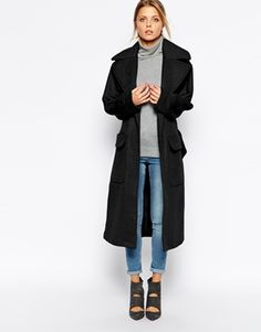 ASOS Coat In Relaxed Fit With Belt