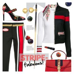 """Stripe Fabulous!"" by sara-cdth on Polyvore featuring Gucci, Moschino, Valentino, Dolce&Gabbana, stripesonstripes and PatternChallenge"