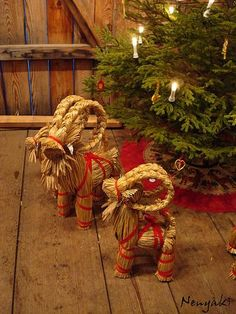The Scandinavian Julboch (straw Yule goats) originated from Norse Mythology where as Thor rode through the heavens in a chariot pulled by two goats. During the 19th century a Julbock would arrive with gifts for children at Yule festivities, symbolizing the gift giving of Saint Nicholas. Today, the Julbock has long been retired to the Yule tree and has been replaced by the popular American Santa Claus