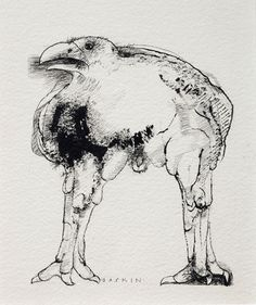 Illustration for the cover of Ted Hughes' book 'Crow' | Leonard Baskin