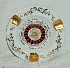 "www.jaedasplaythings.com Monte Carlo Ashtray By Limoges France 4"" Vtg Roulette Wheel"