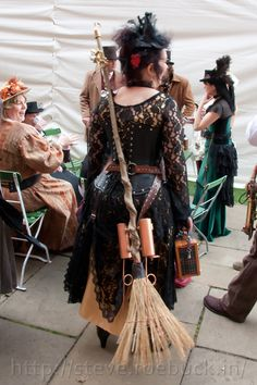 Steampunk witch, with rocket powered broom