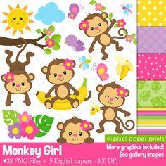 Monkey Girl Clipart and Digital paper set por pixelpaperprints