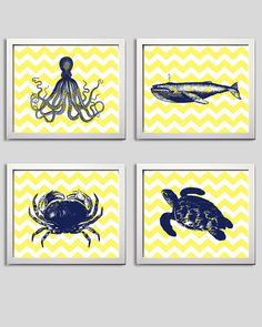Chevron Beach Ocean Sea Navy Yellow more colors available set of 4 on Etsy, $32.00