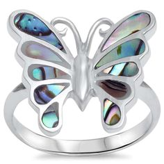 Abalone Butterfly Ring Solid 925 Sterling Silver Abalone Shell Inlay Butterfly Lovers Gift Butterfly Jewelry