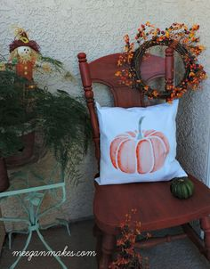 Fall Porch with Stenciled Pumpkin Pillow
