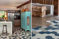Tendance : Mixer les revêtements de sol | Madame Décore Ethnic Chic, Hexagon Tiles, Madame, Kitchen Flooring, Home Improvement, Decor, Open Bathroom, Decoration, Decorating