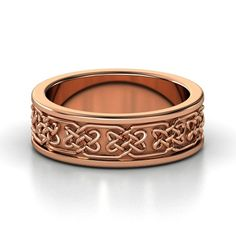 Men's 14K Rose Gold Ring | Lindisfame Celtic Wedding Band | Gemvara