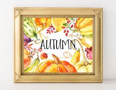 Autumn Printable Art Print Watercolor Gourds Pumpkin Wreath Fall Decor Thanksgiving Decor Fall Decoration Autumn Print 8x10 Instant Download by MossAndTwigPrints on Etsy