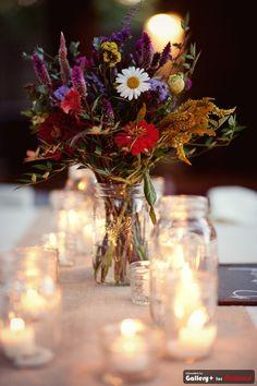 wildflowers amd mason jar centerpieces