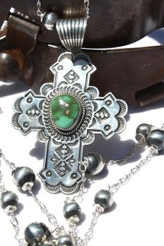 Silver Creations Rosary Style Navajo Sterling Necklace &  Manassa Turquoise Cross Pendant!