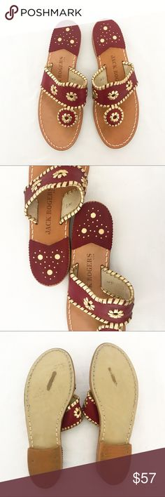 """Jack Rogers Spirit sandals red/gold Whipstitch pinwheel metallic leather Jack Rogers sandals. Approx. 3/4"""" stacked heel. Thong strap with vamp pinwheel strap. Back heel metallic underlay. Leather sole. Gently worn, perfect condition Florida state colors or for anyone that just enjoys these colors! Jack Rogers Shoes Sandals"""