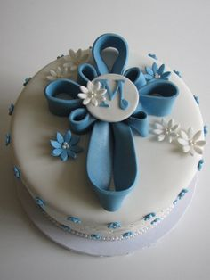 Blue Cross Baptism Cake with Cross Sugar Cookies! - Cake by Sandra ...
