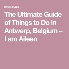 The Ultimate Guide of Things to Do in Antwerp, Belgium – I am Aileen