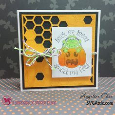 Halloween card #svgattic #svg #cutfile #diecut #papercraft #stamp #copic #halloween #trickntreat #smellmyfeet #trendytwine