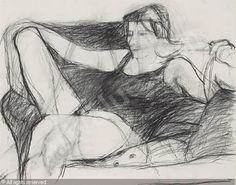 DIEBENKORN Richard, 1922-1993 (USA); Title : Untitled (Figure Study); Date : ca 1958; charcoal on paper