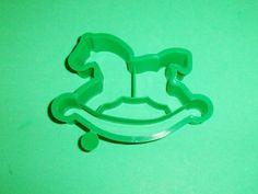 1986 Hallmark Rocking Horse Shaper Cookie Cutter Green Plastic
