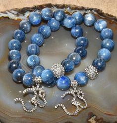 Kyanite Pave Diamond OM Bracelet Blue Luster Sterling Silver Yoga Bracelet Stretch Bracelet by OldJewelryBox on Etsy