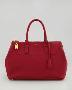 Petra Leather Tote by Tom Ford pretty red with gold hardware