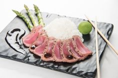 Ahi Tuna | Sesame Crusted and Seared Rare Ahi Tuna with Jasmine Rice, Wasabi, Soy and Grilled Asparagus #DoubleTreeSyracuse #SeasonsTavern #AhiTuna #Fresh #Local