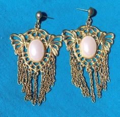 Vintage Large Gold Colored Faux White Pearl cabochon pierced earrings NR #Unbranded #Stud