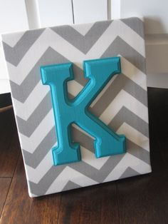 Wall Canvas Letters, Nursery Decor, Nursery Letters, Wooden Letters, Personalized, Nursery Art, Grey and White Chevron. $11.99, via Etsy.