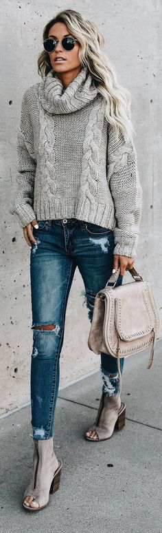 Love this cozy cable knit gray sweater.
