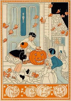 "gold country girls: ""Jack-O'-Lantern"" by Dorothy Aldis halloween illustration Retro Halloween, Photo Halloween, Vintage Halloween Images, Vintage Halloween Decorations, Halloween Pictures, Vintage Holiday, Holidays Halloween, Scary Halloween, Halloween Crafts"