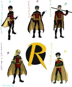 Robins: Dick Grayson, Jason Todd, Tim Drake, Stephanie Brown and Damian Wayne.