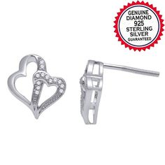 Natural Diamond Accent Infinity and Heart Stud Earrings in 14k Gold Finish. Starting at $35