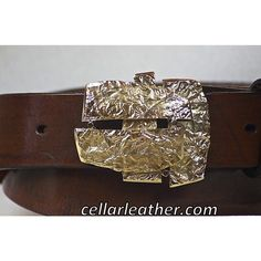 Unique Leather Belt with Abstract Solid Brass Buckle Handmade by Leathersmith Jeff Taylor from Cellar Leather on Cape Cod