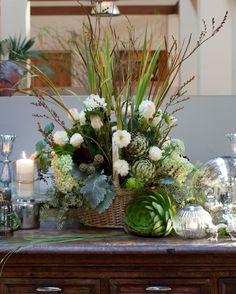 #Cetrellas  # WelcomingFoyerflowers #flowerswithartichokes #flowerswithsucculents  #mercuryglass#Halfmoonbaywedding