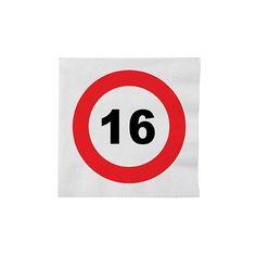 Stopbord servetten 16 jaar. Deze papieren servetten met een stopbord teken en het cijfer 16 hebben een formaat van ongeveer 33 x 33 cm en zijn verpakt per 16 stuks.