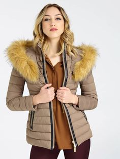 PADDED FAUX FUR INSERT JACKET | GUESS.eu Padded Jacket, Faux Fur, Fur Coat, Beige, Long Sleeve, Model, How To Wear, Jackets
