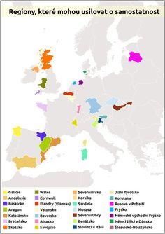 Mapa - Regiony, které mohou usilovat o samostatnost