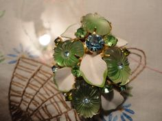 Green Camphor Pillow Glass Blue Green Rhinestone by TammysFindings