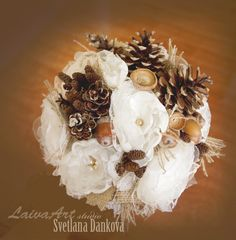 Rustic | Wedding | Flowers Bouquet | Pine Cones Bouquet | Bouquet | Burlap Bouquet | Keepsake Bouquet I Alternative Bouquets| Brooch Bouquet by LaivaArt on Etsy
